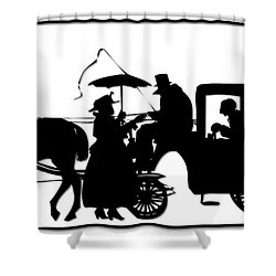 Horse And Carriage Silhouette Shower Curtain by Rose Santuci-Sofranko