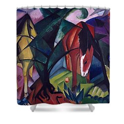 Horse And Eagle Shower Curtain by Franz Marc