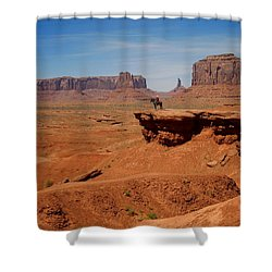 Horse And Rider In Monument Valley Shower Curtain