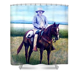 Horse And Rider Shower Curtain by Stacy C Bottoms