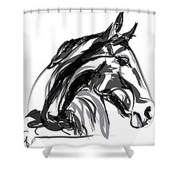 Horse- Apple -digi - Black And White Shower Curtain