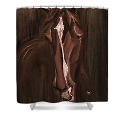 Horse Apple Warm Brown Shower Curtain