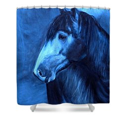 Shower Curtain featuring the painting Horse - Carol In Indigo by Go Van Kampen