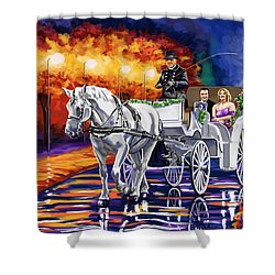 Horse Drawn Carriage Night Shower Curtain by Tim Gilliland