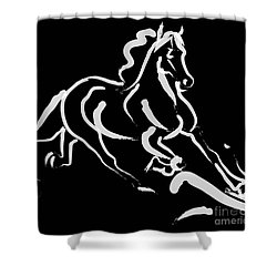 Horse - Fast Runner- Black And White Shower Curtain