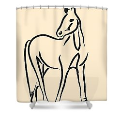 Shower Curtain featuring the painting Horse - Grace by Go Van Kampen