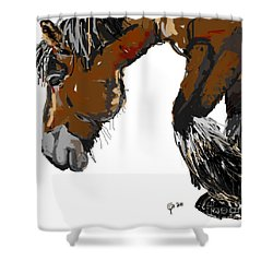 Shower Curtain featuring the painting horse - Guus by Go Van Kampen