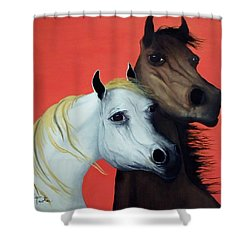 Horse Lovers In Red  Sold Shower Curtain by Patrick Trotter