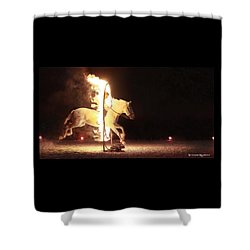 Shower Curtain featuring the photograph Horse On Fire by Stwayne Keubrick