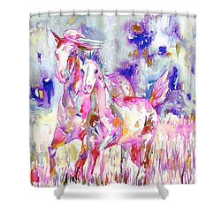 Horse Painting.16 Shower Curtain by Fabrizio Cassetta