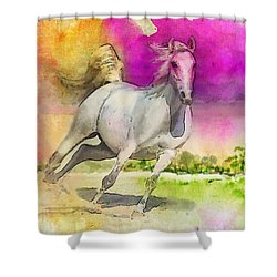 Horse Paintings 007 Shower Curtain by Catf
