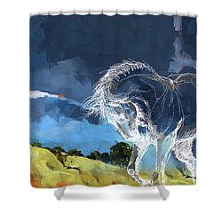 Horse Paintings 012 Shower Curtain by Catf