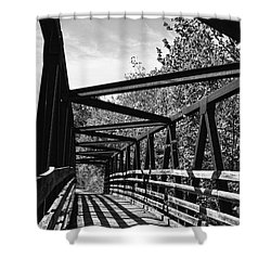 Horse Pen Creek Bridge Black And White Shower Curtain by Sandi OReilly