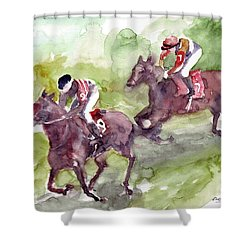 Shower Curtain featuring the painting Horse Racing by Faruk Koksal