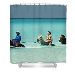 Horse Riders In The Surf Shower Curtain by David Smith