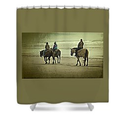 Shower Curtain featuring the photograph Horseback Riding On The Beach by Thom Zehrfeld