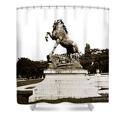 Shower Curtain featuring the photograph Horse Sculpture Trocadero  Paris France 1900 Historical Photos by California Views Mr Pat Hathaway Archives