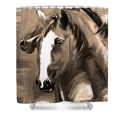Horse Together 1 Sepia Shower Curtain by Go Van Kampen