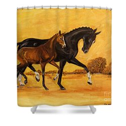 Horse - Together 2 Shower Curtain by Go Van Kampen