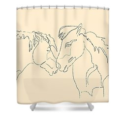 Horse - Together 3 Shower Curtain by Go Van Kampen