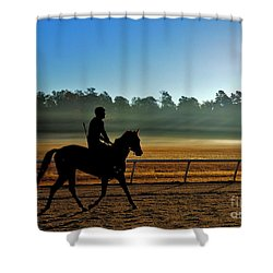 Horse Training At The Winter Colony Shower Curtain