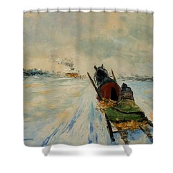 Horse With Sleigh Shower Curtain