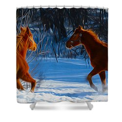 Horses At Play Shower Curtain