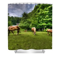 Horses Grazing In Field Shower Curtain by Dan Friend
