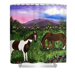 Shower Curtain featuring the painting Horses by Jamie Frier