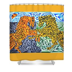 Shower Curtain featuring the painting Horses Of A Different Color by Joseph J Stevens