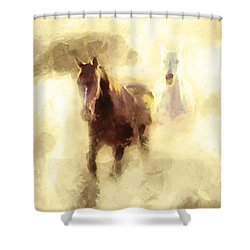 Shower Curtain featuring the painting Horses Of The Mist by Greg Collins