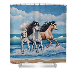 Horses On A Beach Shower Curtain