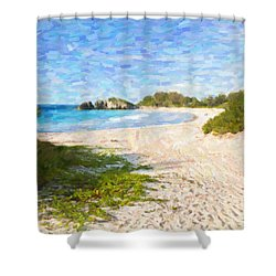 Horseshoe Bay In Bermuda Shower Curtain by Verena Matthew