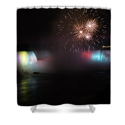 Horseshoe Falls With Fireworks Shower Curtain
