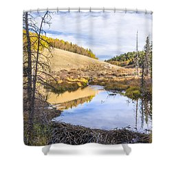 Horsethief Creek Beaver Pond - Cripple Creek Colorado Shower Curtain by Brian Harig