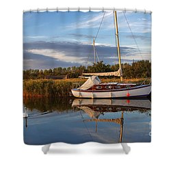 Horsey Mere In Evening Light Shower Curtain by Louise Heusinkveld