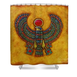 Shower Curtain featuring the mixed media Horus by Joseph Sonday