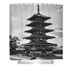 Horyu-ji Temple Pagoda B W - Nara Japan Shower Curtain by Daniel Hagerman