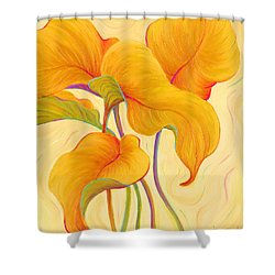 Shower Curtain featuring the painting Hosta Hoofers by Sandi Whetzel