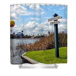 Hot Air Balloon And Old Key West Port Orleans Signage Disney World Shower Curtain by Thomas Woolworth