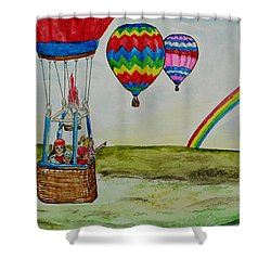 Hot Air Balloon Rainbow Shower Curtain