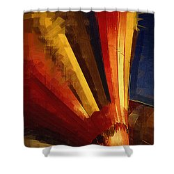 Shower Curtain featuring the digital art Hot Air Balloon Taking Off by Kirt Tisdale