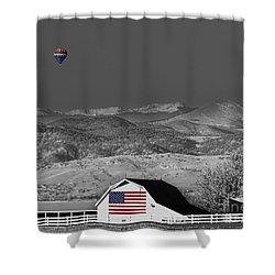 Hot Air Balloon With Usa Flag Barn God Bless The Usa Bwsc Shower Curtain by James BO  Insogna