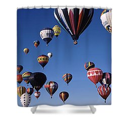 Hot Air Balloons Floating In Sky Shower Curtain