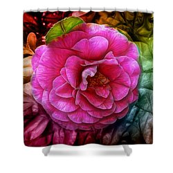 Hot And Silky Pink Rose Shower Curtain by Lilia D