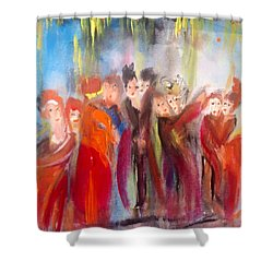 Hot Christmas Polka Shower Curtain by Judith Desrosiers