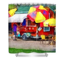 Hot Dog Stand In Mall Shower Curtain by Susan Savad