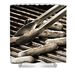 Hot Dogs On The Grill Shower Curtain by Dan Sproul