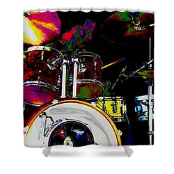 Hot Licks Drummer Shower Curtain