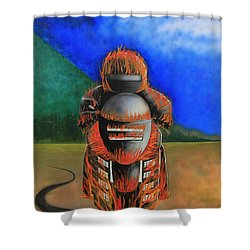 Hot Moto Shower Curtain by Tim Mullaney
